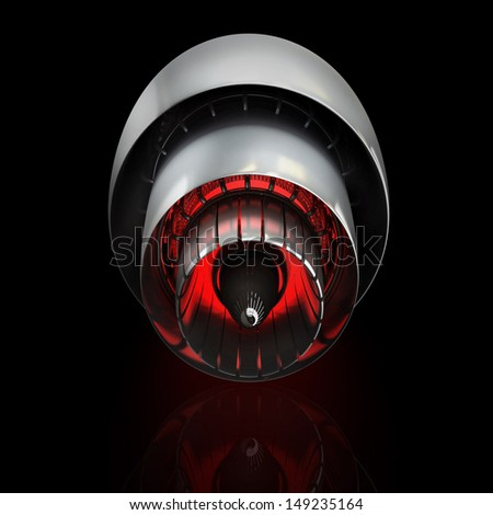 Jet engine isolated on black background. High resolution. 3D image  - stock photo
