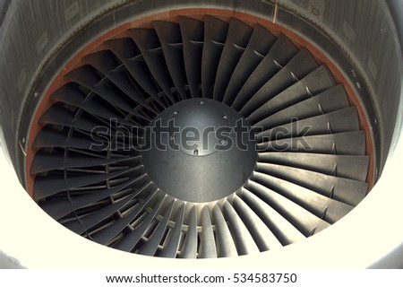 Jet engine of a huge airplane.