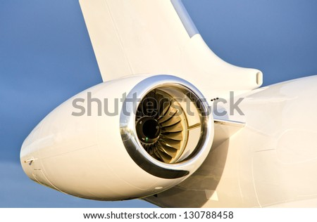 Jet Engine on a Private Plane - Bombardier Global Express - stock photo