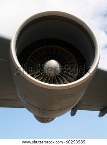 Jet Engine on Wing - stock photo