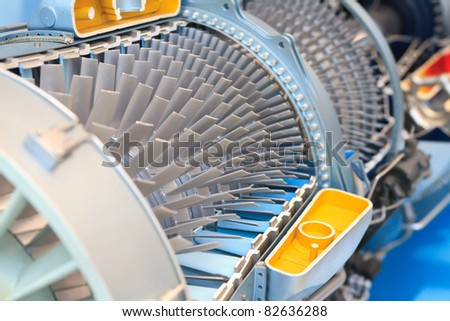 jet engine taken apart to reveal the inside - stock photo
