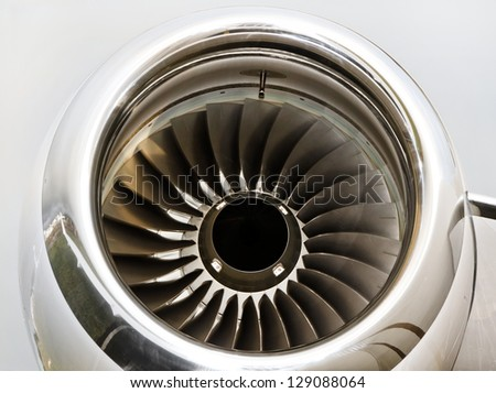 Jet Engine Turbine on a Private Jet Plane - Bombardier Global Express