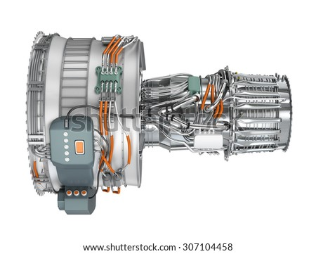 Jet fan engine isolated on white background. Clipping path available. - stock photo