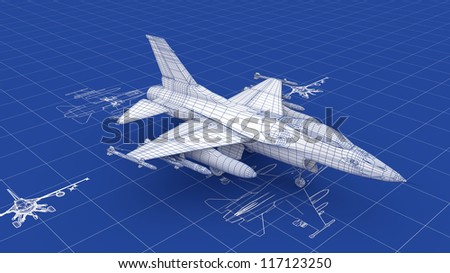 Jet Fighter Aircraft Blueprint. Part of a series. - stock photo