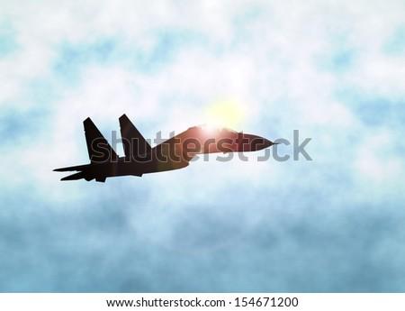 Jet Fighter over Bright Sunlight - stock photo