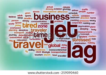 Jet lag word cloud concept with abstract background - stock photo
