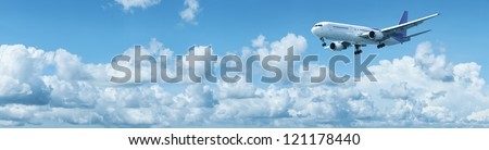 Jet landing. Panoramic shot. - stock photo