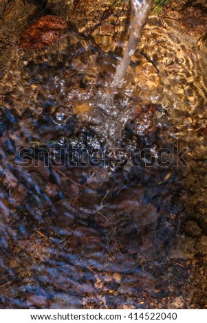 jet of water in a forest stream - stock photo
