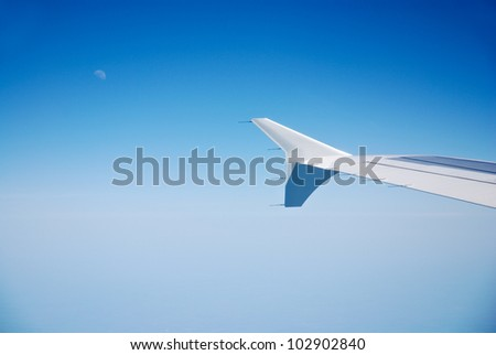 jet plane wing seen from window