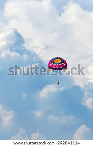 Jet Ski Parasailing , Mahe Seychelles - stock photo