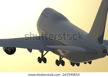 Jet taking off at sunset. A Jet airplane takes off at sunset towards an orange sky with a sun glow. - stock photo
