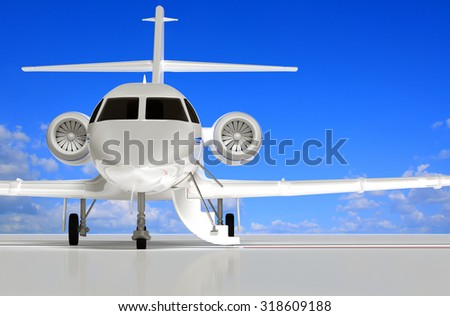 Jet that is opening doors and waiting 3d model rendering. - stock photo