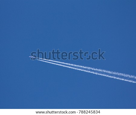 Jet traffic jet on a blue sky.
