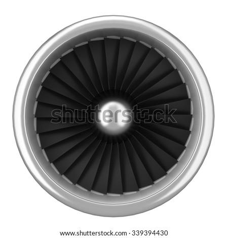 Jet turbine. 3d illustration isolated on white background  - stock photo
