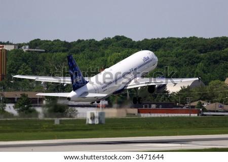 JetBlue takeoff - stock photo