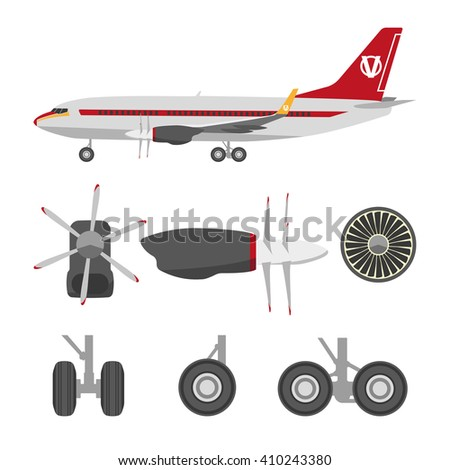 Jets constructor. Flat icons aircraft parts. Collection of symbols for the repair of aircraft - stock photo