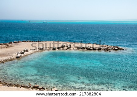 Jetty at Hurghada Coast with View of Red Sea, Egypt - stock photo
