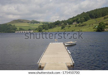 jetty in a mountainous countryside, peak district, derbyshire - stock photo