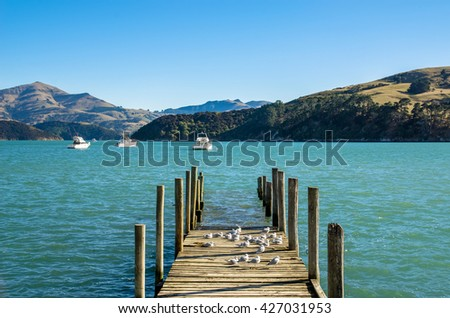 Jetty in Akaroa, south island of New Zealand.