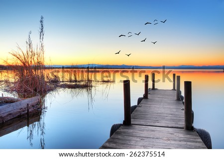 jetty in lake - stock photo