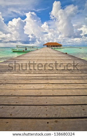 Jetty Maldives 01 - stock photo