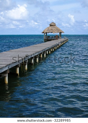 Jetty on a Cloudy Afternoon at Ambergris Caye, Belize.