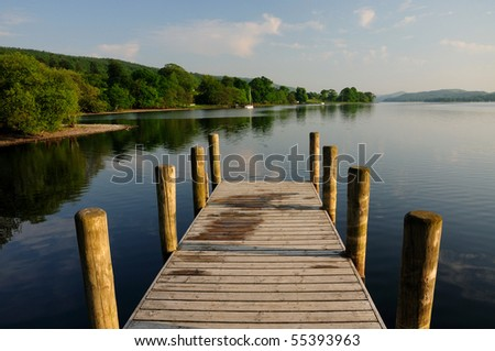 Jetty on Coniston Water in summer, English Lake District