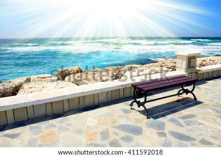 jetty on the beach bench background - stock photo
