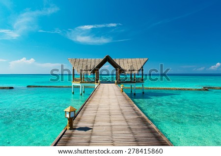 jetty on the maldives - stock photo