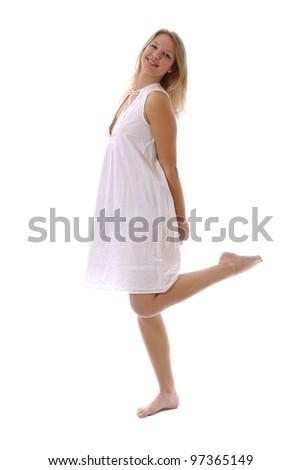 jeune femme en robe blanche légère - stock photo