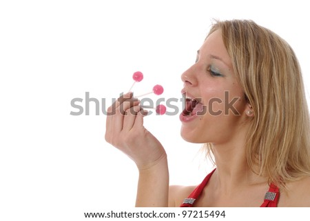 jeune femme gourmande et sucettes - stock photo