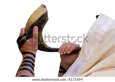 Jew blowing in shofar of Rosh hashana.