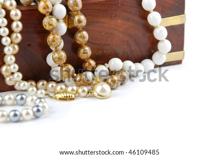 jewel box with pearl necklaces isolated on white background