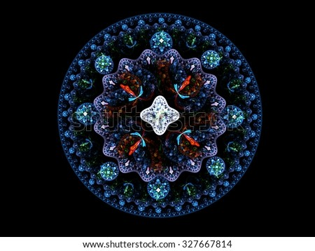 Jewel mandala. Computer generated picture