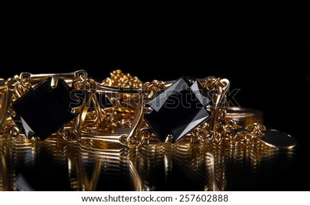 jewelery isolated on the black - stock photo