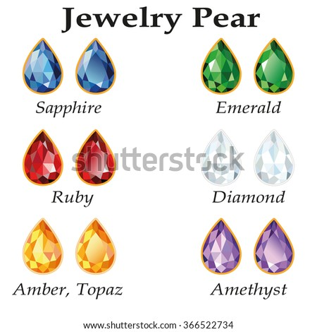 Jewelery set with faceting pear - diamond, emerald, sapphire, ruby, amethyst, topaz and amber on white background.  - stock photo
