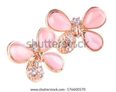 jewellery. earrings on the background - stock photo