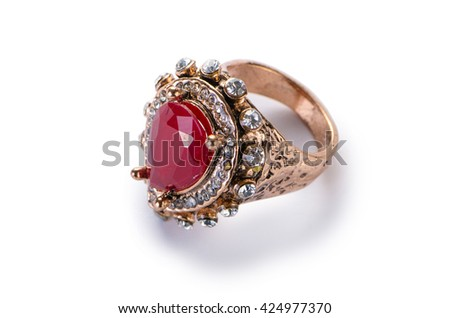 Jewellery ring isolated on the white - stock photo