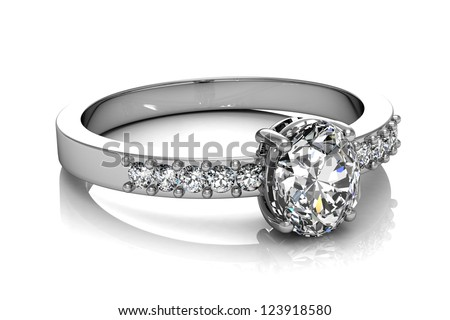 Jewellery ring on a white background. - stock photo