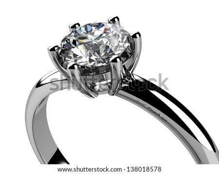 Jewellery ring  on white background