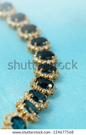 Jewelry accessories - bracelet with sapphire and brilliants - stock photo
