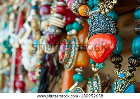 Jewelry at market in Mtsheta, the tourist capital of Georgia - stock photo