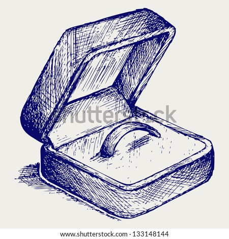 Jewelry box. Doodle style. Raster version - stock photo