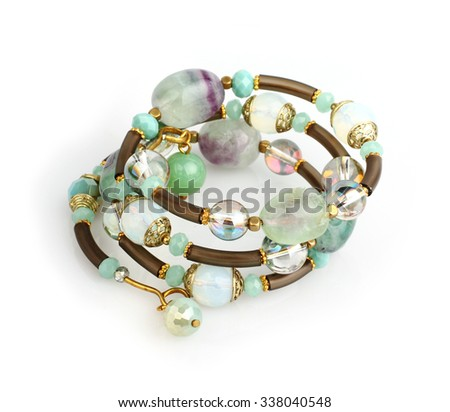jewelry bracelet with colorful stones on white  - stock photo