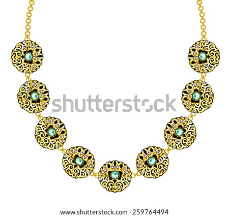 Jewelry Design Art necklace. Hand Drawing and painting on paper. - stock photo