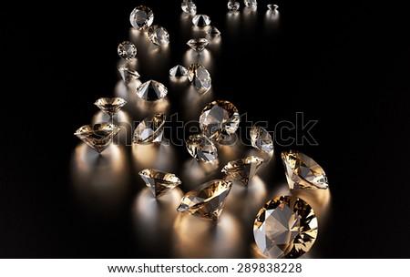 Jewelry diamond collection on dark  background - stock photo
