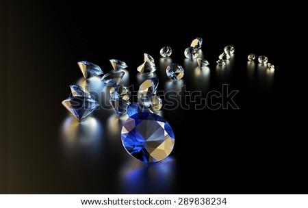 Jewelry diamond collection on dark  background. Sapphire - stock photo