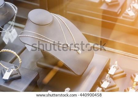 Jewelry diamond shop store window display
