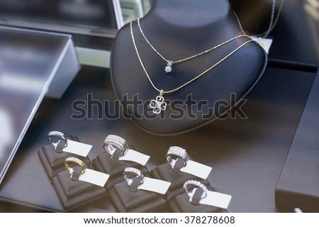 Jewelry diamond shop window display - stock photo