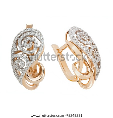 Jewelry earrings isolated on the white background - stock photo